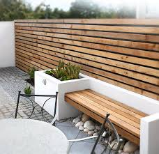 white concrete planter bench wood garden designs