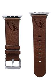 affinity bands arizona cardinals brown leather band compatible with apple watch 42mm 44mm nfl watch band com
