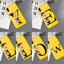 Letter Monogram P Q R S T Matte Soft Tpu Yellow Color Phone Case For iPhone  12 11 Pro Max X XR XS 8 7 6 6S Plus Mini Cover|Phone Case & Covers