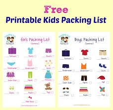 Printable Kids Kids Packing List Free Printable