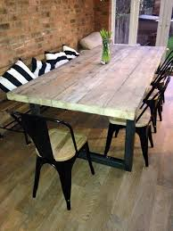 reclaimed industrial chic 10 12 seater solid wood and metal dining table cafe bar restaurant furniture steel and wood made to mere