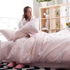 online get cheap rabbit print sheets com alibaba group cartoon rabbit print bedding set queen king sweet pink duvet cover bed sheet pillow covers 100