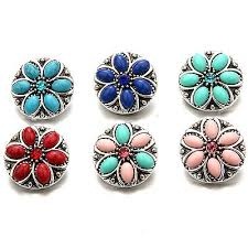 alloy round turquoise rhinestone snaps ons charms fit 18mm snap jewelry