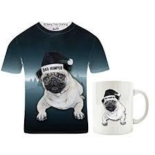 bah humpug t shirt pug mug gift set small