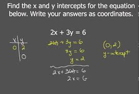 finding x and y intercepts for linear equations