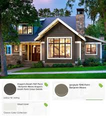 exterior paint color combinations with stone. thin veneer stone in a cutback style. exterior paint color scheme using benjamin moore\u0027s dragon\u0027s breath (cedar shakes), combinations with