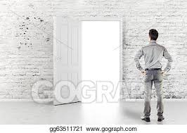 Open front door drawing Clipart Young Business Man In Front Of An Open Door In Vintage White Brick Wall Getdrawingscom Stock Illustration Young Business Man In Front Of An Open Door In