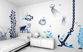 interior: Artistic Room Wall Designs With Animals Sea Painting Plus Simple  Single Bed Side Cute