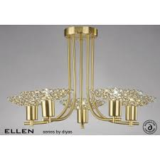 diyas ellen large semi flush 5 light satin brass chandelier with crystal detail code il20602