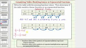ex 1 determine if a table of value represents a linear or exponential function fractions decimals