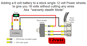 power wheels 4 wheeler 18volt modifiedpowerwheels com for your mod there will be six pins instead of three as shown in 12vwiz s diagram the top pins of the switch do not need to be connected back to the
