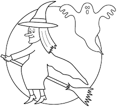 Small Picture Witch on broom with the moon and ghost Coloring Page Halloween