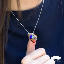 handmade glass pendants heart women necklace artistic handmade glass heart pendant necklace for lady hand blown