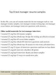 Top 8 test manager resume samples In this file, you can ref resume  materials for ...