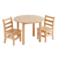 elr 22101 30 round hardwood table and 2 chairs