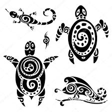 полинезийская черепаха черепаха набор тату векторное изображение