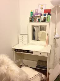 diy wood makeup vanity table painted with white color plus makeup storage above mirror and drawer in the corner room for small es plus acrylic chair