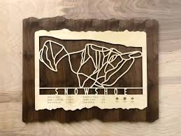 snowshoe ski decor map art gift skiing