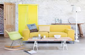 light yellow sofa. Contemporary Yellow White Washed Bricks Wall And Yellow Pale Sofa Intended Light Yellow Sofa E