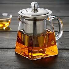 details about 1pc stovetop loose leaf tea heat resistant glass teapot with infuser clear brew