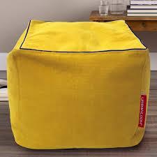 yellow pouf ottoman. Exellent Pouf Cotton Khadi Bean Bag PoufOttomanFootstool Cover  Cube Yellow By  Urbanloom In Yellow Pouf Ottoman