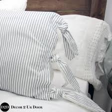 navy white ticking stripes ties custom designer sham