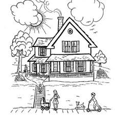 Small Picture Houses with Two Big Trees Coloring Page Color Luna