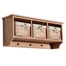 homcom wall mounted coat hook storage unit w 2 baskets brown
