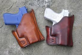 this pocket holster is designed to be carried in the front pocket and is offered for small autos and small revolvers most of the molding is done on the