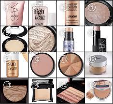 1 nars illuminator 2 benefit high beam 3 makeup forever uplight 4 mac soft gentle 5 mac pearl creamy highlight