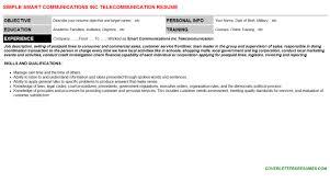 Telecommunication Resume Smart Communications Inc Telecommunication Cv Cover Letter