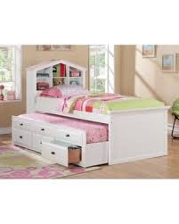 Amazing Deal on White Kids Girls Bookcase Twin Bed Storage Trundle ...