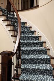 patterned stair carpet. Custom Stair Runner Made From Tuftex Mills Mallorca Color 00458 Indigo Patterned Carpet