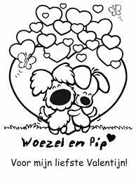 Woezel En Pip Valentijn Kleurplaat Valentine Coloring Valentines