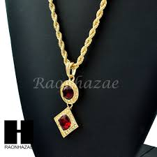 details about men hip hop iced out rich gang red ruby pendant 24 rope chain necklace set g251