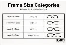 size chart chart eyeglass frame