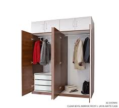 mirrored 8 door set of hanging and 3 interior drawers wardrobe closets w 14 in matching storage cap toppers