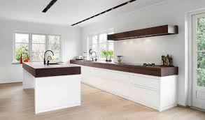 white modern kitchen ideas. Interior : Perfect Scandinavian Kitchen Ideas With Brown Wood Floor And White Modern Cabinet Also Dark Countertop Plus Long R