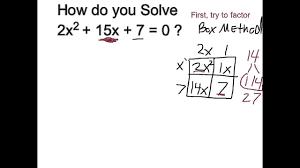 solve 2x 2 15x 7 0