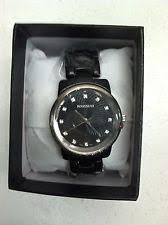 rousseau watches rousseau ladies adele wrist watch black band silver bezel