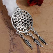 2019 mjartoria vintage round holow flower of life dream catcher pendant for jewelry making necklaces pendants diy accessories from meetamo