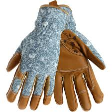 style selections women s medium beige turquoise leather garden gloves