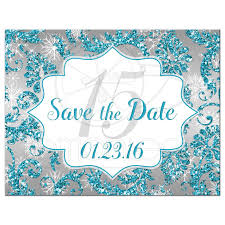 Quinceañera Save The Date Card Winter Wonderland Turquoise Silver