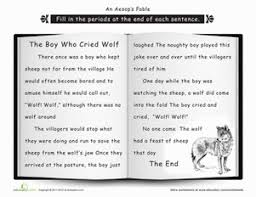 Small Picture Punctuation The Boy Who Cried Wolf Worksheet Educationcom
