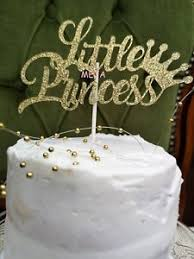 Happy Birthday Cake Pick Topper Decoration Little Princess Gold New