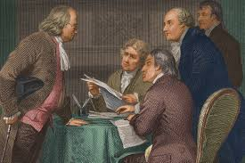 the drafting of the declaration of independence as depicted by one artist stockmontage getty images