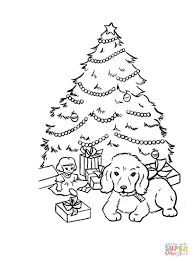 Christmas Tree With Presents Coloring Page Free Printable Coloring