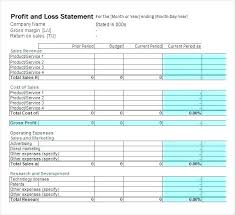 Simple P L Excel Template Twelve Month Profit And Loss Projection Excel Template