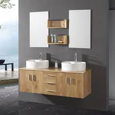 Unfinished Wood Modern Bathroom Floating Vanity With Double Sink