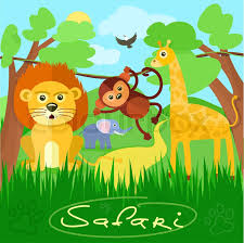 baby safari background. Delighful Baby Safari Concept Cute African Safari Animals Cartoon Characters Scene On  Background With Trees  Stock Vector Colourbox Inside Baby Background P